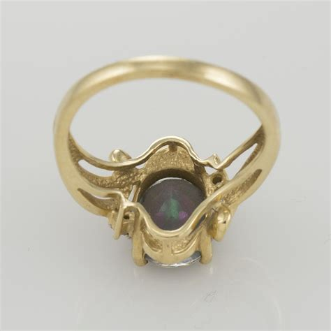 14k yellow gold mystic topaz ring with accents