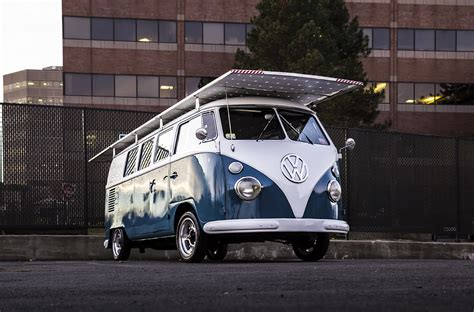 volkswagen electric bus classic 1966 vw bus with green drivetrain solar powered
