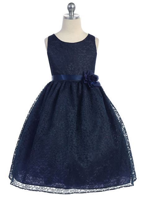 Kidz Dress Flower Brokat Navy navy floral lace dress
