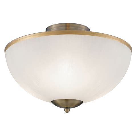 antique brass 3 light flush fitting with opal glass shade