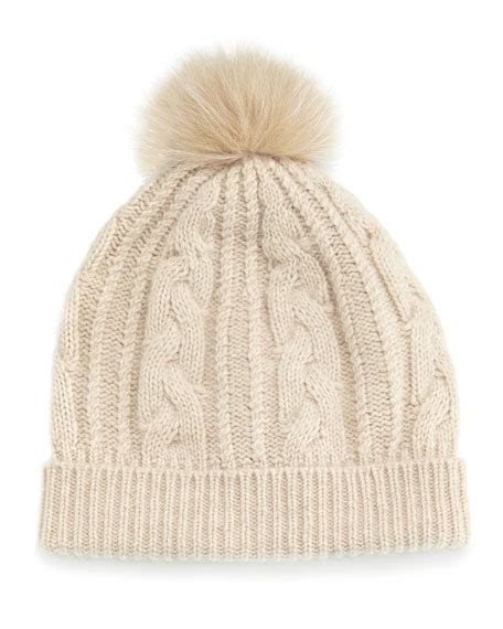 cable knit pom pom hat bergdorf goodman cable knit hat w fur pom pom