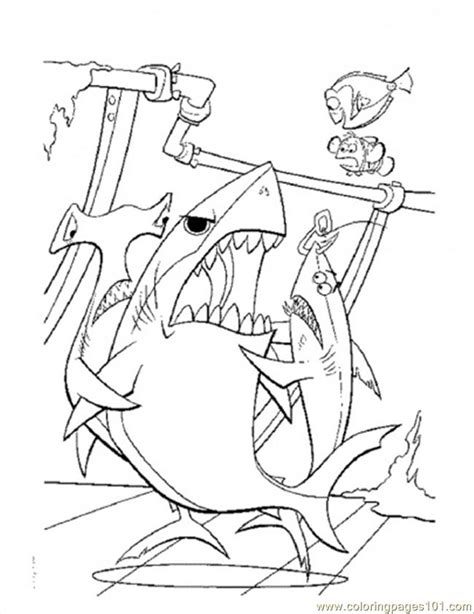bruce nemo coloring pages coloring pages bruce want to eat dory cartoons gt finding