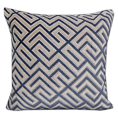 blue throw pillows for bed greek key velvet throw pillow in blue bed bath beyond