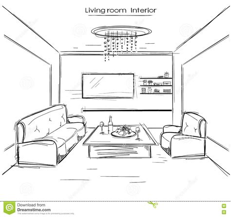 online drawing room living room interior vector black hand drawing