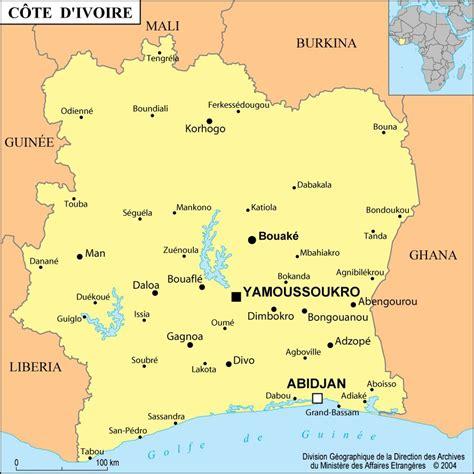 cote divoir carte de la c 244 te d ivoire routi 232 re administrative