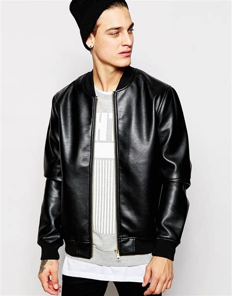 Jacket Bomber 2 lyst asos faux leather bomber jacket in black for