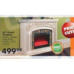 62 in grand fireplace antique white at big lots black