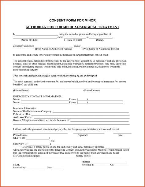 child consent form template consent child consent form