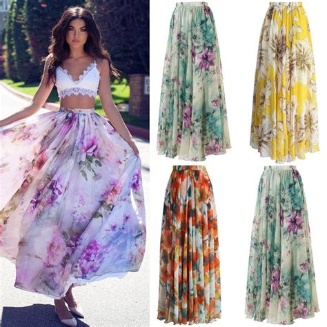 floral print chiffon skirt high waist floral evening maxi skirt