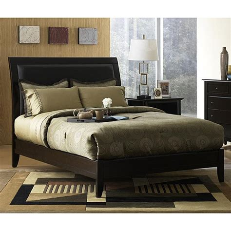 Leather Headboard Sleigh Bed by Padded Synthetic Leather California King Size Sleigh Bed