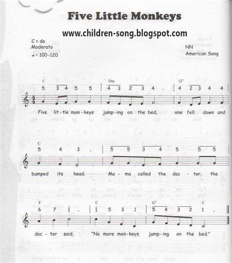 the bed song five little monkey notes and chords