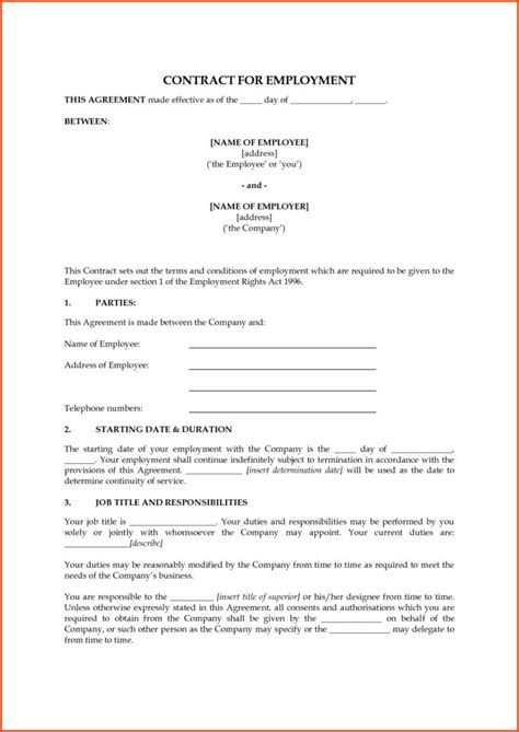 templates for employment contracts 1099 employee contract form templates resume exles