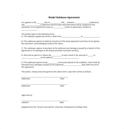 subtenant agreement template 10 sublease agreement templates free sle exle
