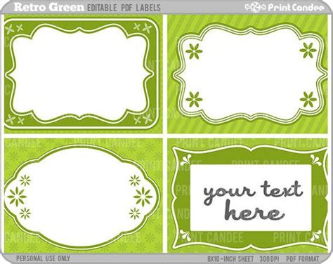 rectangle editable   retro green labels   printcandee