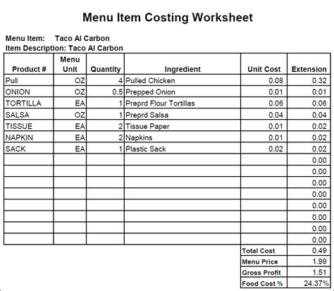 food costing spreadsheet free foodfash co