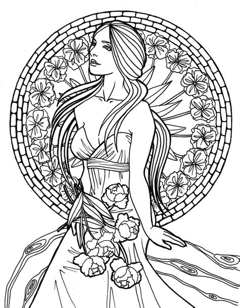 art nouveau coloring page adult coloring pages art nouveau woman coloring pages