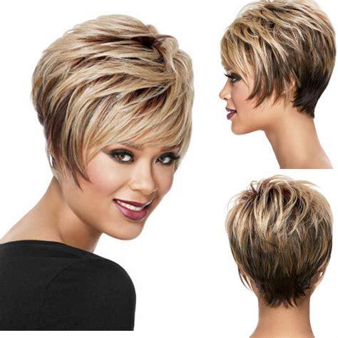 short blonde wigs for women short pixie wigs for black women ombre blonde dark brown