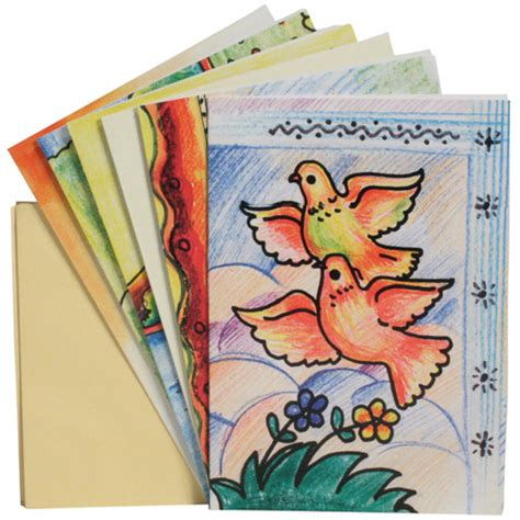 Assorted Gift Cards - pack of 6 assorted paper gift cards from india fair trade balashram kriya yoga