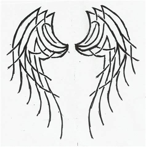 simple angel tattoos simple wings drawing cliparts co