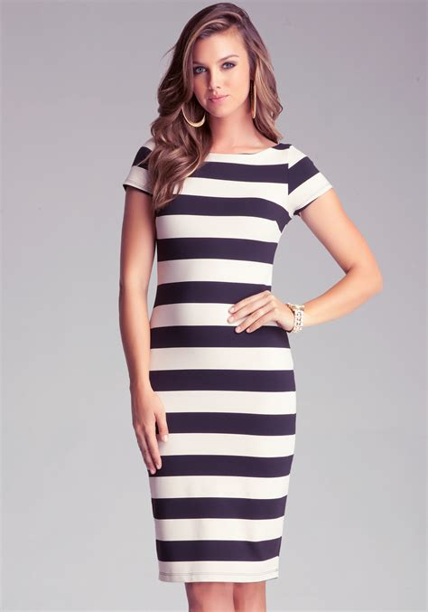 Striped Dress bebe stripe midi dress in white lyst