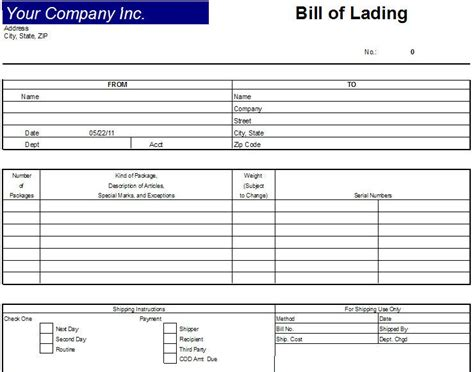 printable freight invoice printable sle bill of lading template form real