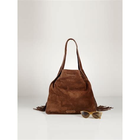 Sling Bag Suede Awir polo ralph fringed suede sling bag in brown lyst