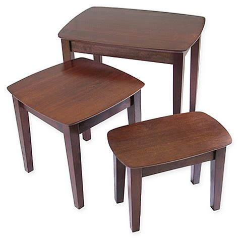 bed bath beyond table ls antique walnut 3 piece nesting tables bed bath beyond