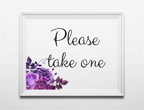 please take one purple wedding sign printable digital download