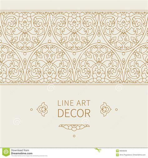 frame design line art vector ornate seamless border in eastern style stock
