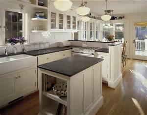 Tudor Chandelier White Soapstone Countertops Kitchen Traditional With None