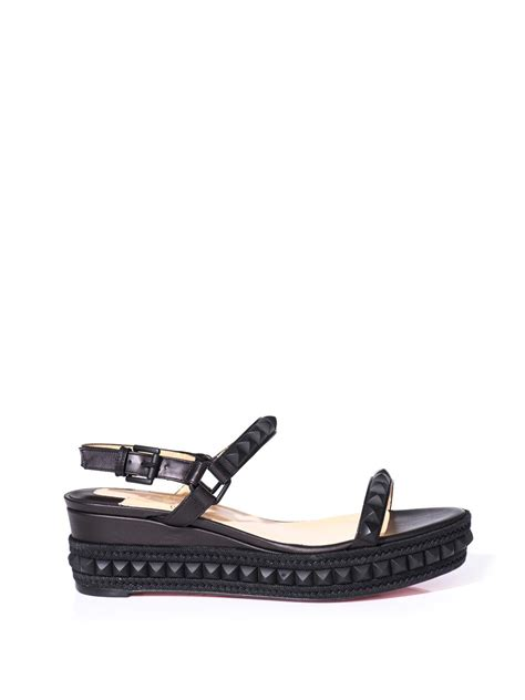 Loubotin Wedges Black 1 christian louboutin cata clou wedge sandals in black lyst