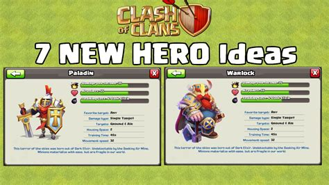 themes coc 7 new hero ideas for clash of clans updates youtube