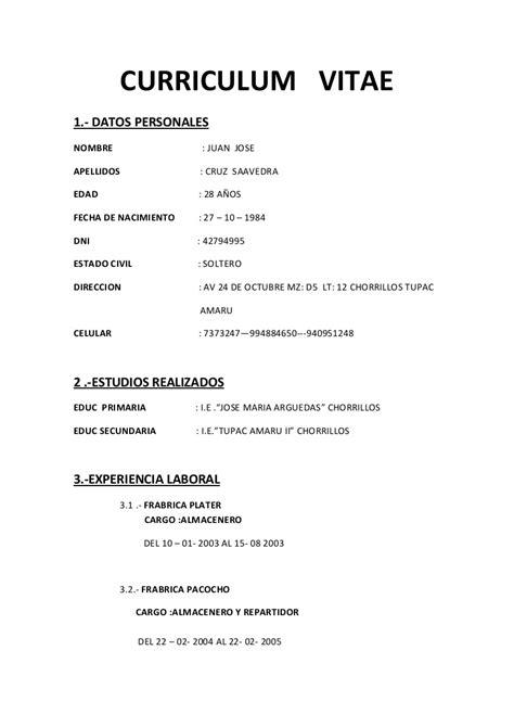 Modelo De Curriculum Vitae Experiencia Ni Estudios curriculum vitae