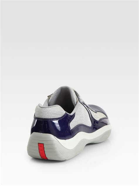 prada americas cup sneaker prada americas cup patent leather sneakers in blue for