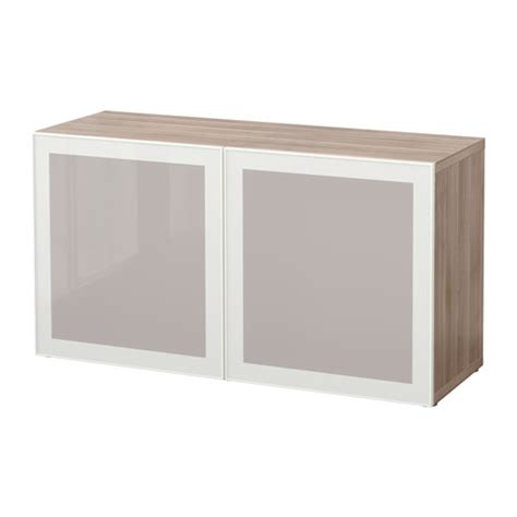 besta unit best 197 shelf unit with glass doors walnut effect light