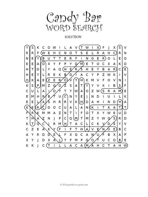 printable word search chocolate candy bar word search