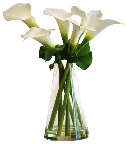 Artificial Lilies In Vase by Calla Lilies In Glass Vase 21 Quot Traditional Artificial
