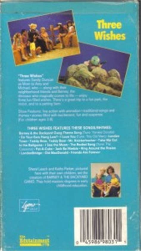 barney and the backyard gang three wishes vhs barney backyard gang three wishes sandy duncan ebay