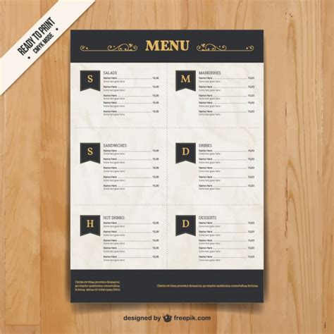 menu template in elegant style vector free download