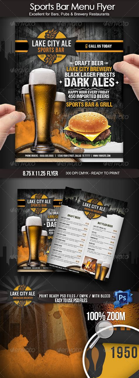 Print Template Graphicriver Sports Bar Menu Flyer 4022098 187 Dondrup Com Sports Bar Menu Template