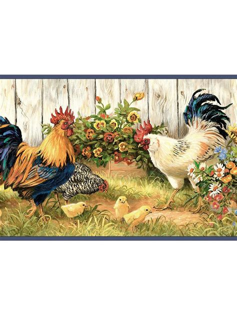 rooster wallpaper country rooster and sunflower wallpaper border ffr24511b http