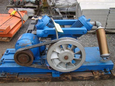 kellogg american skid mount air compressor model k40at ge 5hp motor 220 440v 3 ebay