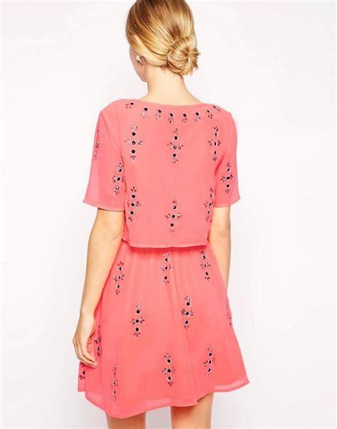 asos asos pearl embellished crop asos asos fluro crop top embellished skater dress at asos