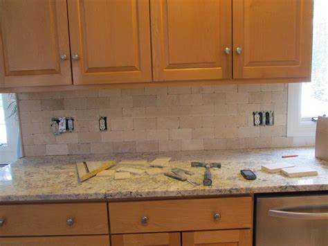 tumbled marble kitchen backsplash tumbled marble backsplash completed today total labor cost