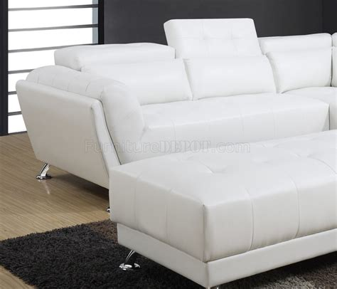 white bonded leather sofa u8859 sectional sofa in white bonded leather by global w options