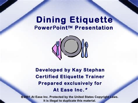 Dining Table Etiquette Ppt Dining Etiquette Powerpoint Presentation Developed By