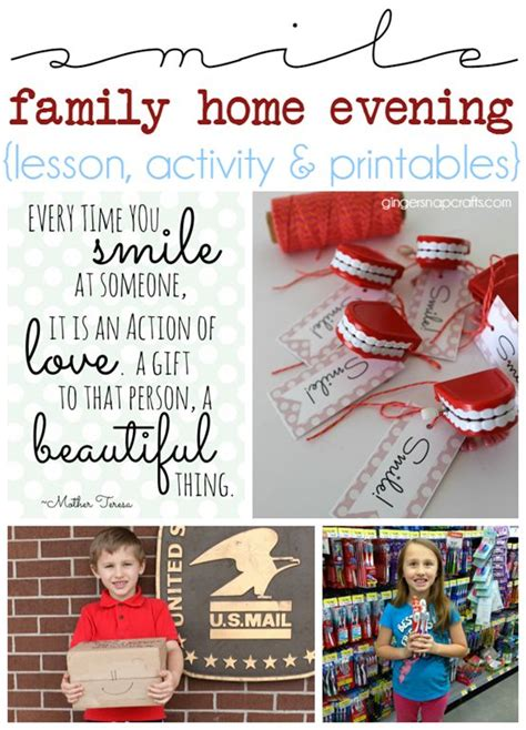 smile family home evening lesson activity printables at