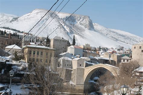 ottoman bosnia mostar old bridge winter snow ottoman empire ottoman