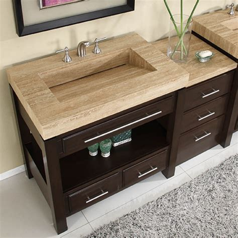56 inch single sink cabinet with espresso finish and