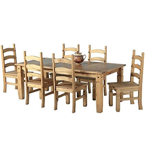 Mexican Pine Dining Table And Chairs Mexican Corona 6ft Pine 70 Dining Table Set 6 Chairs Antique Waxed By Mexican Corona House